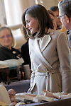 Queen Letizia of Spain during the commemoration of the 40th anniversary of the National Employment Institute, the current State Employment Public Service, and visited the exhibition of the Workshop Schools-Employment Workshops of the National Heritage at The Royal Palace. November 29,2018. (ALTERPHOTOS/Pool)