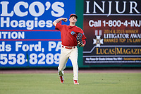 Clearwater Threshers left fielder Mickey Moniak (2) throws back to the infield during a game against the Jupiter Hammerheads on April 9, 2018 at Spectrum Field in Clearwater, Florida.  Jupiter defeated Clearwater 9-4.  (Mike Janes/Four Seam Images)