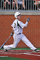 Shortstop Hunter Jones (33) of the Charlotte 49ers bats in a game against the Fairfield Stags on Saturday, March 12, 2016, at Hayes Stadium in Charlotte, North Carolina. (Tom Priddy/Four Seam Images)