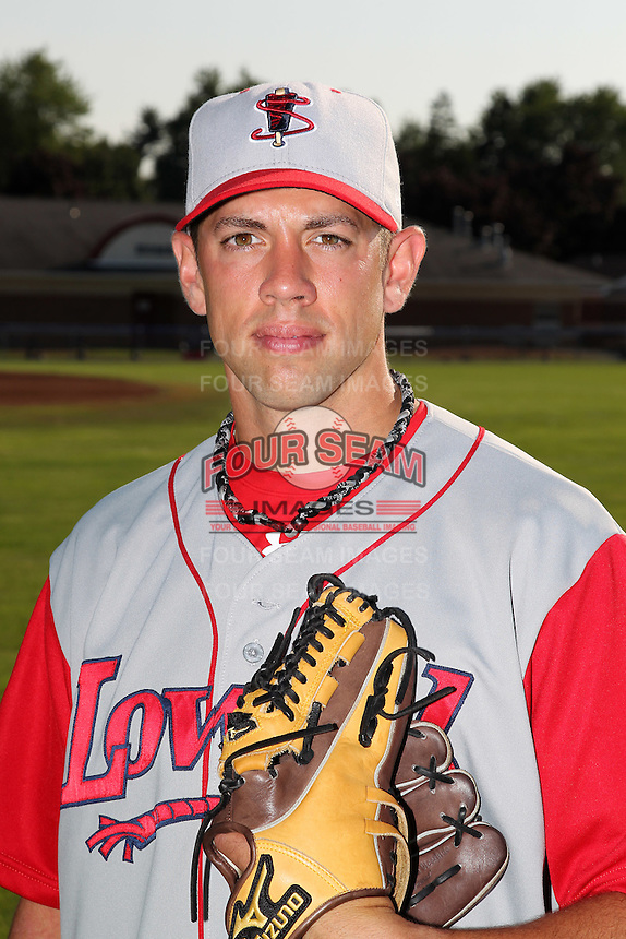 Lowell Spinners Pitcher Jay Broughton poses for a photo before a game vs. the Batavia Muckdogs at Dwyer Stadium in Batavia, New York July 16, 2010.   Batavia defeated Lowell 5-4 with a walk off RBI single.  Photo By Mike Janes/Four Seam Images