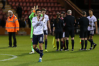Bolton Wanderers' Jem Karacan applauds their travelling fans after their 2-1 victory over Crewe Alexandra<br /> <br /> Photographer Andrew Kearns/CameraSport<br /> <br /> The Carabao Cup - Crewe Alexandra v Bolton Wanderers - Wednesday 9th August 2017 - Alexandra Stadium - Crewe<br />  <br /> World Copyright &copy; 2017 CameraSport. All rights reserved. 43 Linden Ave. Countesthorpe. Leicester. England. LE8 5PG - Tel: +44 (0) 116 277 4147 - admin@camerasport.com - www.camerasport.com