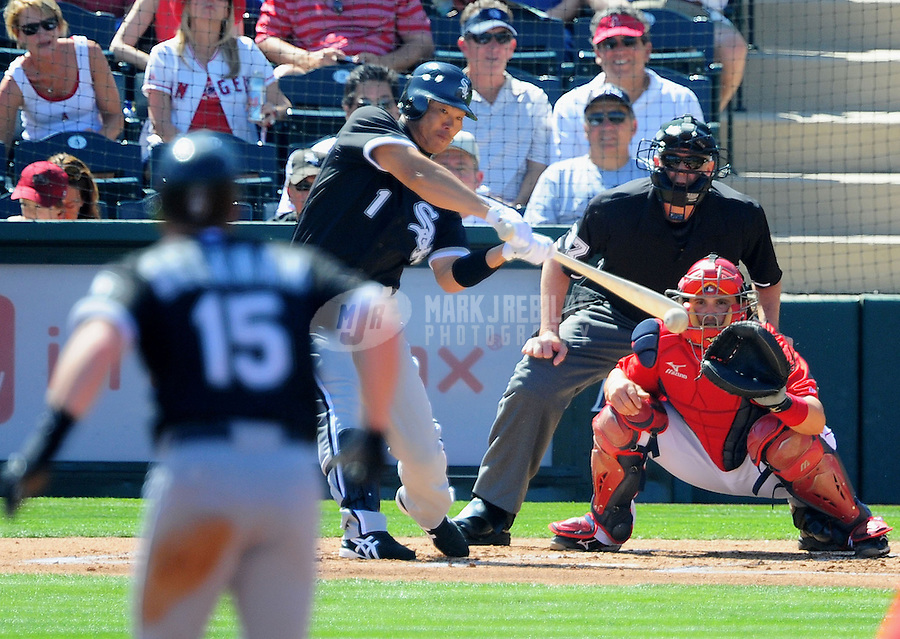 Mar. 6, 2012; Tempe, AZ, USA; Chicago White Sox outfielder Kosuke Fukudome grounds into a double play in the first inning against the Los Angeles Angels during a spring training game at Tempe Diablo Stadium.  Mandatory Credit: Mark J. Rebilas-