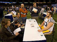 T-Bob Hebert of LSU talks with the reporters during BCS Media Day at Mercedes-Benz Superdome in New Orleans, Louisiana on January 6th, 2012.