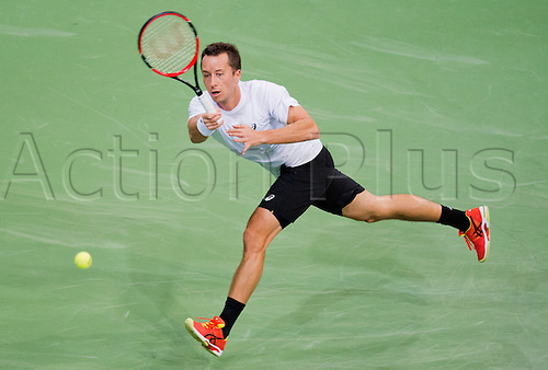 06.03.2016. Hannover, Germany.  Philipp Kohlschreiber of Germany hits the ball during the 1st round singles tennis match of the Davis Cup between Kohlschreiber (Germany) and Berdych (Czech Republic) at the TUI Arena in Hanover, Germany