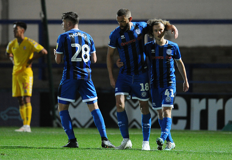 Rochdale's Aaron Wilbraham celebrates scoring his side's first goal with team-mates Aaron Morley and Luke Matheson<br /> <br /> Photographer Kevin Barnes/CameraSport<br /> <br /> EFL Leasing.com Trophy - Northern Section - Group F - Rochdale v Bolton Wanderers - Tuesday 1st October 2019  - University of Bolton Stadium - Bolton<br />  <br /> World Copyright © 2018 CameraSport. All rights reserved. 43 Linden Ave. Countesthorpe. Leicester. England. LE8 5PG - Tel: +44 (0) 116 277 4147 - admin@camerasport.com - www.camerasport.com