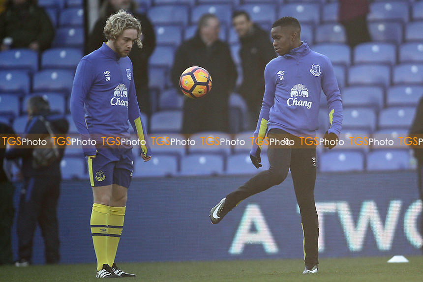 Tom Davies of Everton and Ademola Lookman warm up ahead of the match during Crystal Palace vs Everton, Premier League Football at Selhurst Park on 21st January 2017