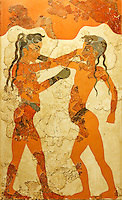 Boxing children fresco depicts two naked boys wearing belts and boxing gloves in Acroteri, Thera, Greece (16th cent. B.C.)