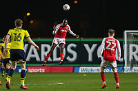 Toumani Diagourage of Fleetwood Town wins the aerial ball during the Sky Bet League 1 match between Oxford United and Fleetwood Town at the Kassam Stadium, Oxford, England on 10 April 2018. Photo by David Horn.