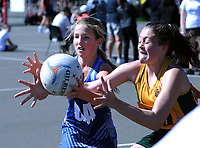 Action from the AIMS Games netball at Blake Park in Mount Maunganui, New Zealand on Wednesday, 12 September 2018. Photo: Dave Lintott / lintottphoto.co.nz