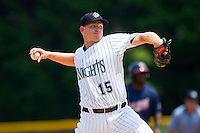 Charlotte Knights starting pitcher Erik Johnson (15) in action against the Gwinnett Braves at Knights Stadium on July 28, 2013 in Fort Mill, South Carolina.  The Knights defeated the Braves 6-1.  (Brian Westerholt/Four Seam Images)