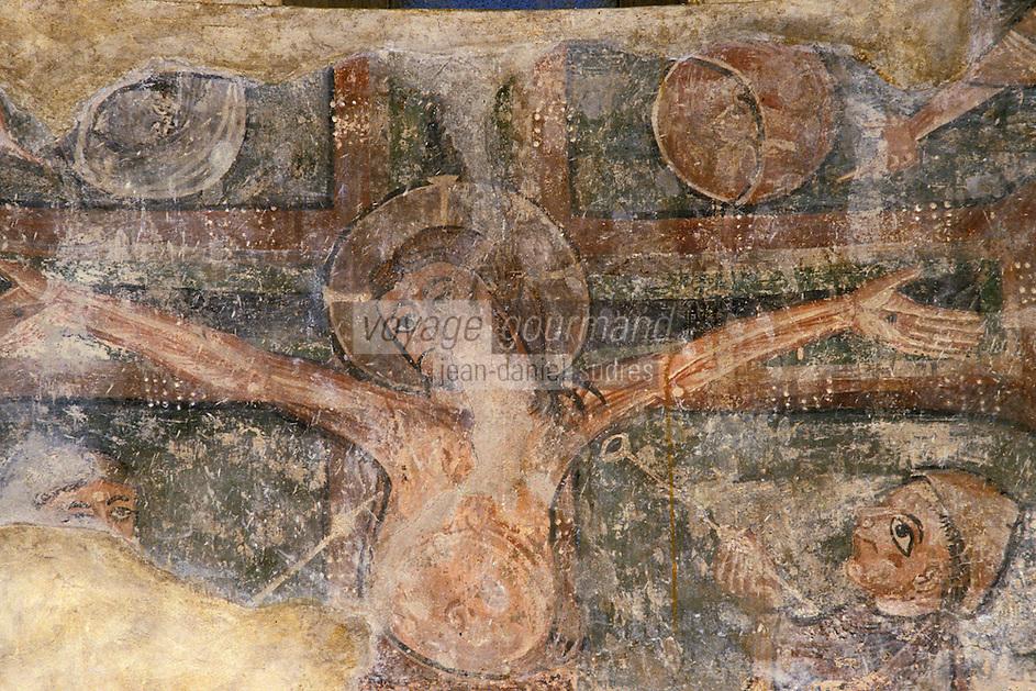 Europe/France/Midi-Pyrénées/09/Ariège/Couserans/Montgauch: Eglise - Fresques romanes XIIème - Crucifixion