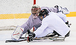 PyeongChang 8/3/2018 - Dominic Larocque (#31), of Quebec City, QC, makes a save on Tyrone Henry (#5), of Ottawa, ON, as Canada's sledge hockey team practices ahead of the start of competition at the Gangneung practice venue during the 2018 Winter Paralympic Games in Pyeongchang, Korea. Photo: Dave Holland/Canadian Paralympic Committee