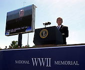 Washington, D.C. - May 29, 2004 -- United States President George W. Bush makes remarks at the dedication of the World War Two Memorial in Washington, D.C. on May 29, 2004..Credit: Ron Sachs / CNP