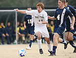 02 December 2007: Wake Forest's Cody Arnoux (17) and West Virginia's Alex Erwin (4). The Wake Forest University Demon Deacons defeated the West Virginia University Mountaineers 3-1 at W. Dennie Spry Soccer Stadium in Winston-Salem, North Carolina in a Third Round NCAA Division I Mens Soccer Tournament game.
