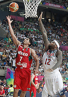 USA's DeMarcus Cousins (r) and Mexico's Jorge Gutierrez during 2014 FIBA Basketball World Cup Round of 16 match.September 6,2014.(ALTERPHOTOS/Acero)