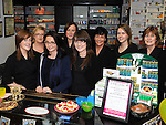 Staff members Julie O'Dowd, Louise Hendy, Julieanne Kieran, Denise McCoy, Olga Creehan, Geraldine Campbell, Laura O'Neill and Letty Murtagh at McGoey pharmacy Ardee celebrating 12 years in business. Photo: Colin Bell/pressphotos.ie