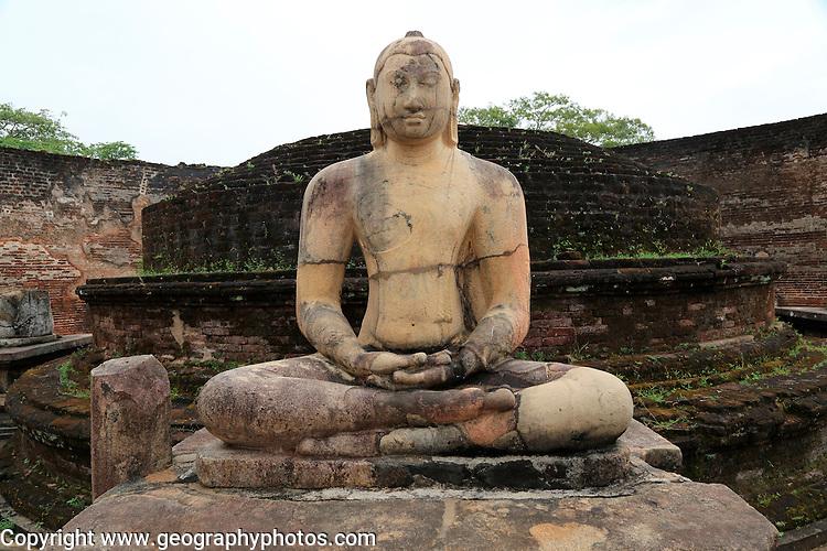 Seated Buddha in Vatadage building, The Quadrangle, UNESCO World Heritage Site, the ancient city of Polonnaruwa, Sri Lanka, Asia