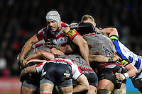Sione Kalamafoni of Gloucester Rugby in action at a maul. Aviva Premiership match, between Gloucester Rugby and Bath Rugby on March 26, 2016 at Kingsholm Stadium in Gloucester, England. Photo by: Patrick Khachfe / Onside Images