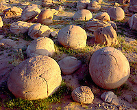 Sunset light on eroded clay formations at the Pumpkin Patch; Anza Borrego Desert State Park, CA