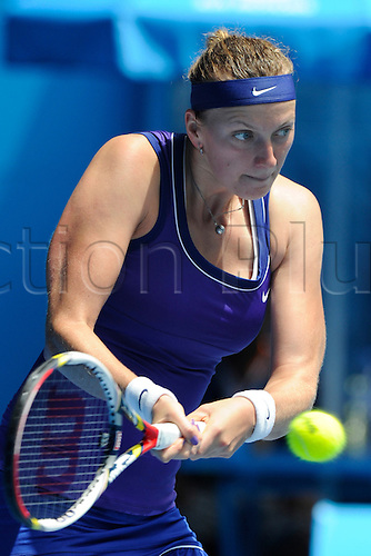 25.01.2012 Australian Open Tennis from Melbourne Park. Petra Kvitova (CZE) returns a shot in her match on the tenth day of the Australian Open Tennis Championships in Melbourne, Australia.