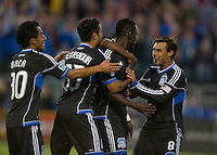 Santa Clara, Ca - Saturday, August 25, 2012: The San Jose Earthquakes defeated the Colorado Rapids 4-1 at Buck Shaw Stadium. Simon Dawkins is congratulated by Chris Wondolowski, right, and team members.