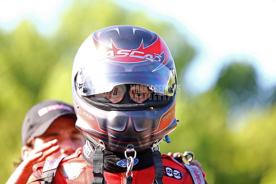 May 30, 2014; Englishtown, NJ, USA; NHRA funny car driver Bob Tasca III during qualifying for the Summernationals at Raceway Park. Mandatory Credit: Mark J. Rebilas-