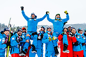 9th February 2019, ARE, Sweden; Aksel Lund Svindal and Kjetil Jansrud of Norway celebrate with the team after the mens downhill during the FIS Alpine World Ski Championships on February 9, 2019 in Are.