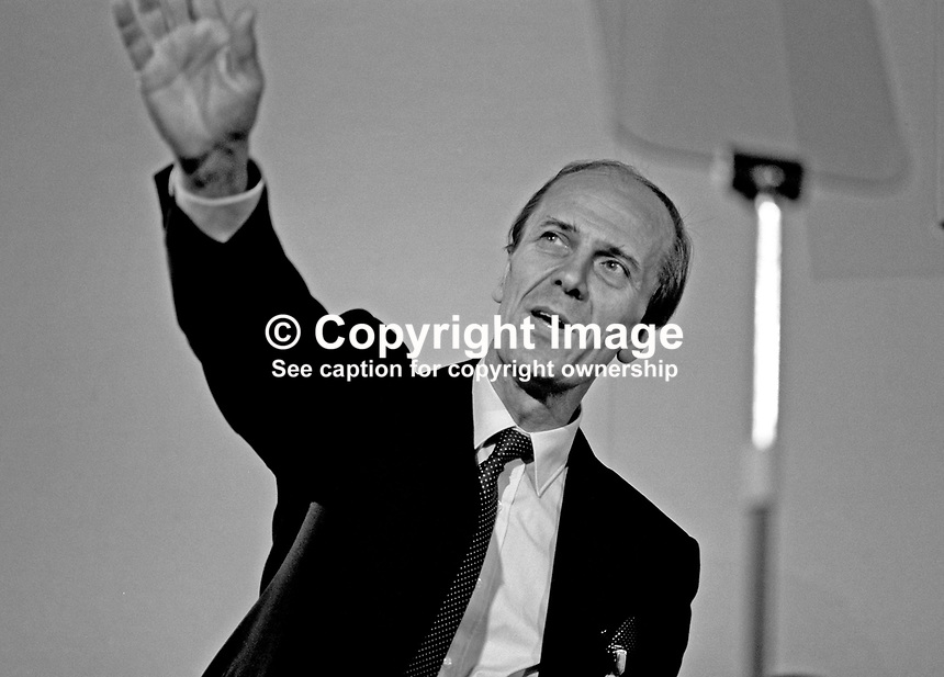 Always an annual conference favourite Norman Tebbit, MP, Conservative Party, acknowledges the applause of delegates. 19871032NT2.<br />