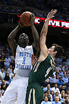 30 December 2014: North Carolina's Theo Pinson (1) and William and Mary's Omar Prewitt (4). The University of North Carolina Tar Heels played the College of William & Mary Tribe in an NCAA Division I Men's basketball game at the Dean E. Smith Center in Chapel Hill, North Carolina. UNC won the game 86-64.