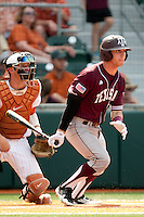 Texas A&M Aggies outfielder Tyler Naquin #18 at bat during the NCAA baseball game against the Texas Longhorns on April 28, 2012 at UFCU Disch-Falk Field in Austin, Texas. The Aggies beat the Longhorns 12-4. (Andrew Woolley / Four Seam Images)...