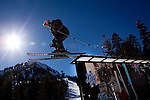 A skier hits a rail at the Art Park on Mammoth Mountain, Calif., January 28, 2011.