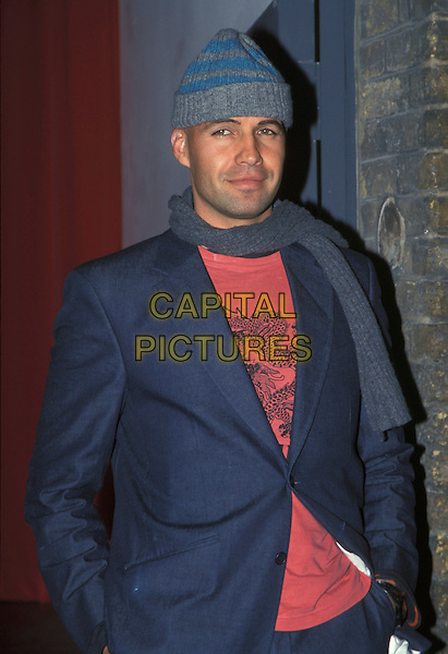 BILLY ZANE.15th February 2001.half length grey wooly hat blue stripes striped scraf red t shirt blue jacket.Ref: AH.www.capitalpictures.com.sales@capitalpictures.com.©Adam Houghton/Capital Pictures.