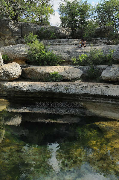 People enjoying Jacob's Well, Wimberley, Hays County, Central Texas, USA