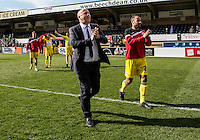Accrington Stanley Manager John Coleman thanks the fans after the Sky Bet League 2 match between Wycombe Wanderers and Accrington Stanley at Adams Park, High Wycombe, England on the 30th April 2016. Photo by Liam McAvoy / PRiME Media Images.