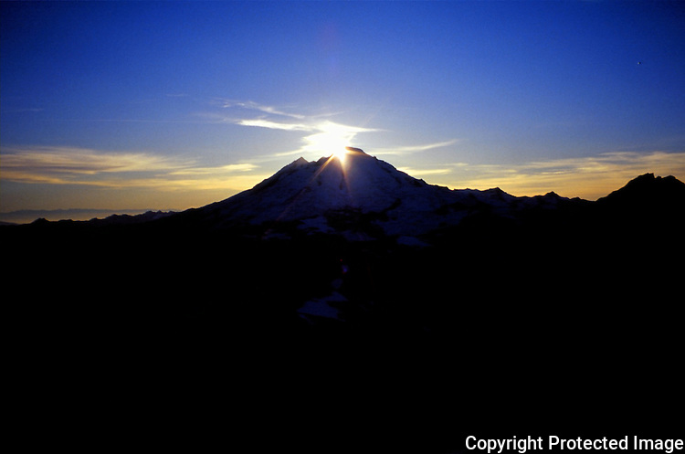 Sunset over Mount Baker in Washington's North Cascade mountain range.