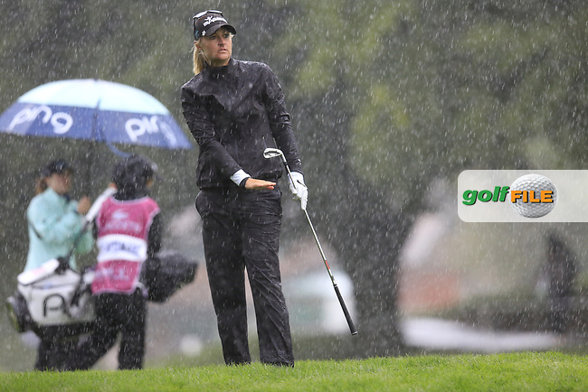 Anna Nordqvist (SWE) plays her 2nd shot on the 18th the playoff hole of Sunday's Final Round of The Evian Championship 2017, the final Major of the ladies season, held at Evian Resort Golf Club, Evian-les-Bains, France. 17th September 2017.<br /> Picture: Eoin Clarke | Golffile<br /> <br /> <br /> All photos usage must carry mandatory copyright credit (&copy; Golffile | Eoin Clarke)