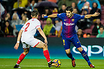 Luis Alberto Suarez Diaz of FC Barcelona (L) and Sebastien Corchia of Sevilla FC (R) during the La Liga 2017-18 match between FC Barcelona and Sevilla FC at Camp Nou on November 04 2017 in Barcelona, Spain. Photo by Vicens Gimenez / Power Sport Images