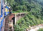 Nilgiri mountain railway, steam train cross bridge