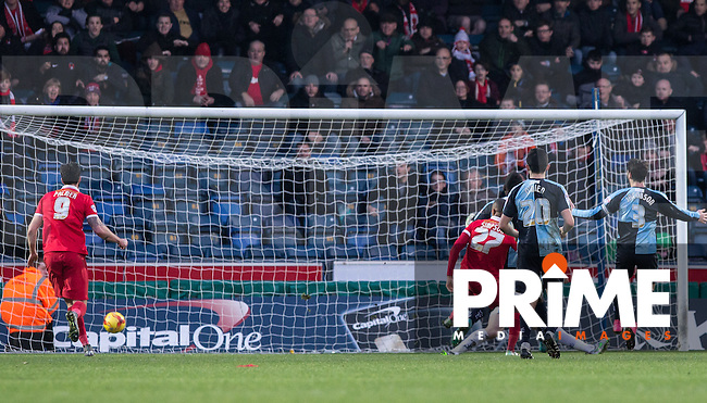 Jay Simpson (27) of Leyton Orient scores his goal during the Sky Bet League 2 match between Wycombe Wanderers and Leyton Orient at Adams Park, High Wycombe, England on 23 January 2016. Photo by Andy Rowland / PRiME Media Images.