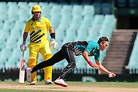 13th March 2020, Sydney Cricket Ground, Sydney, Australia;  Trent Boult  fields off his own bowling. International One Day Cricket. Australia versus New Zealand Blackcaps, Chappell–Hadlee Trophy, Game 1.