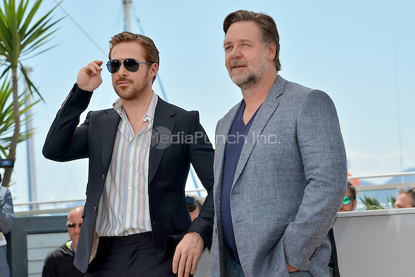 Ryan Gosling and Russell Crowe at the Photocall &acute;The Nice Guys` - 69th Cannes Film Festival on May 15, 2016 in Cannes, France.<br /> CAP/LAF<br /> &copy;Lafitte/Capital Pictures /MediaPunch ***NORTH AND SOUTH AMERICA ONLY***