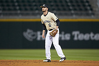 Wake Forest Demon Deacons second baseman Jake Mueller (6) on defense against the Charlotte 49ers at BB&T BallPark on March 13, 2018 in Charlotte, North Carolina.  The 49ers defeated the Demon Deacons 13-1.  (Brian Westerholt/Four Seam Images)