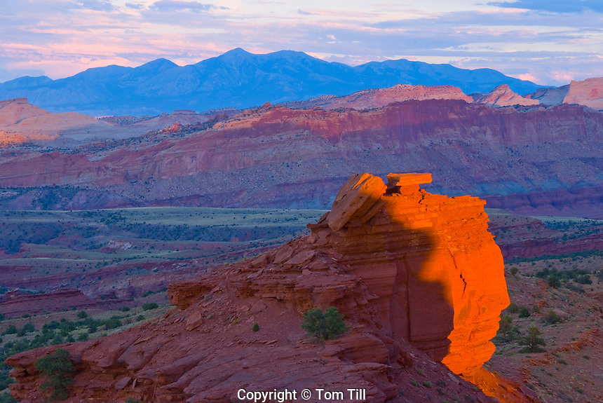 Last sun at Sunset Point, Capitol Reef National park, Utah   Waterpocket Fold,  Near Fremont River