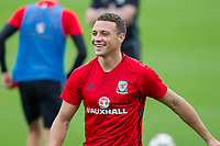 James Chester during Wales national team training at Vale Resort, Hensol, Wales on 4 September 2017, ahead of the side's World Cup Qualification match against Moldova. Photo by Mark  Hawkins.