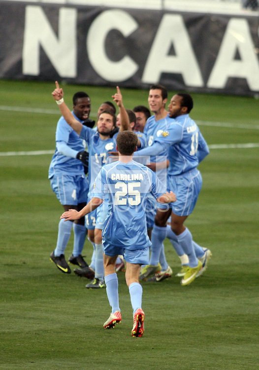 North Carolina Tar Heels celebrate a goal by Ben Speas (17) again Charlotte during the NCAA 2011 Men's College Cup in Hoover, AL on Sunday, December 11, 2011.