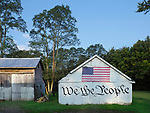 """A barn inscribed with """"We the People"""" in West Chester, Ohio."""