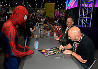 SAN DIEGO COMIC-CON© 2019:  L-R: 20th Century Fox Television's AMERICAN DAD Cast Members Rachael MacFarlane, Dee Bradley Baker and Producer Matt Weitzman during the AMERICAN DAD booth signing on Saturday, July 20 at the SAN DIEGO COMIC-CON© 2019. CR: Alan Hess/20th Century Fox Television