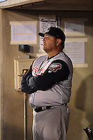 ***Temporary Unedited Reference File***Arkansas Travelers manager Mark Parent (39) during a game against the Tulsa Drillers on April 28, 2016 at ONEOK Field in Tulsa, Oklahoma.  Tulsa defeated Arkansas 5-4.  (Mike Janes/Four Seam Images)