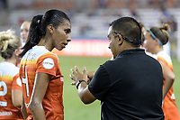 Houston, TX - Sunday August 13, 2017:  Bruna Benites and Omar Morales during a regular season National Women's Soccer League (NWSL) match between the Houston Dash and FC Kansas City at BBVA Compass Stadium.
