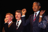 File Photo - Montreal Mayor Jean Dore (M) and Nelson Mandela (R) on June 19, 1990<br /> <br /> Dore has been told he as a terminal pancreas cancer and 3 weeks to live , this September 2014.<br /> <br /> File Photo : Agence Quebec Pressse  - Pierre Roussel
